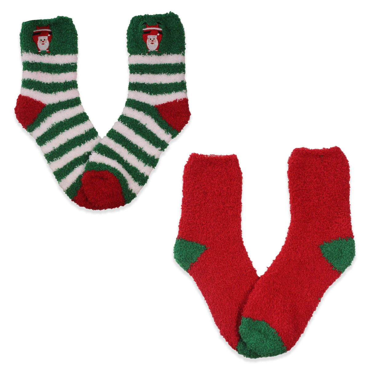 Green  Fuzzy Santa Stripe Women's 2 Pack Socks Green