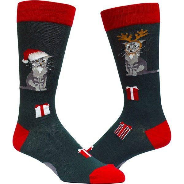 Christmas Kitty Socks - Crew Socks for Men