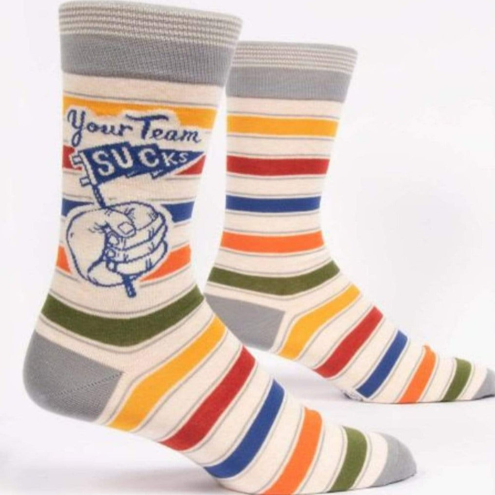 Your Team Sucks Socks Men's Crew Sock Grey