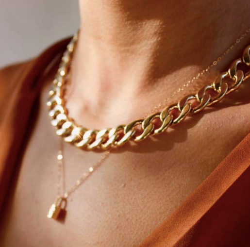 24k Gold Plate Statement Cable Necklace