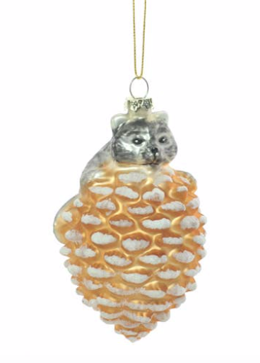 Grey/Orange Raccoon on Pinecone Ornament