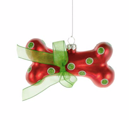 Red and Green Glass Dog Bone Ornament with Green Ribbon