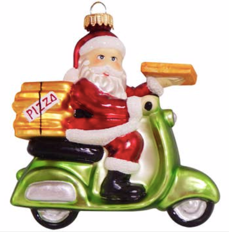 Pizza Delivery Santa Ornament