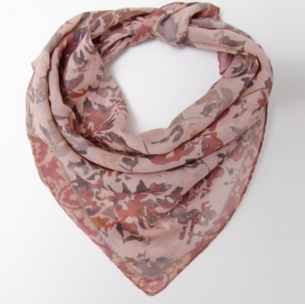 Painted Leaves Scarf in Nude