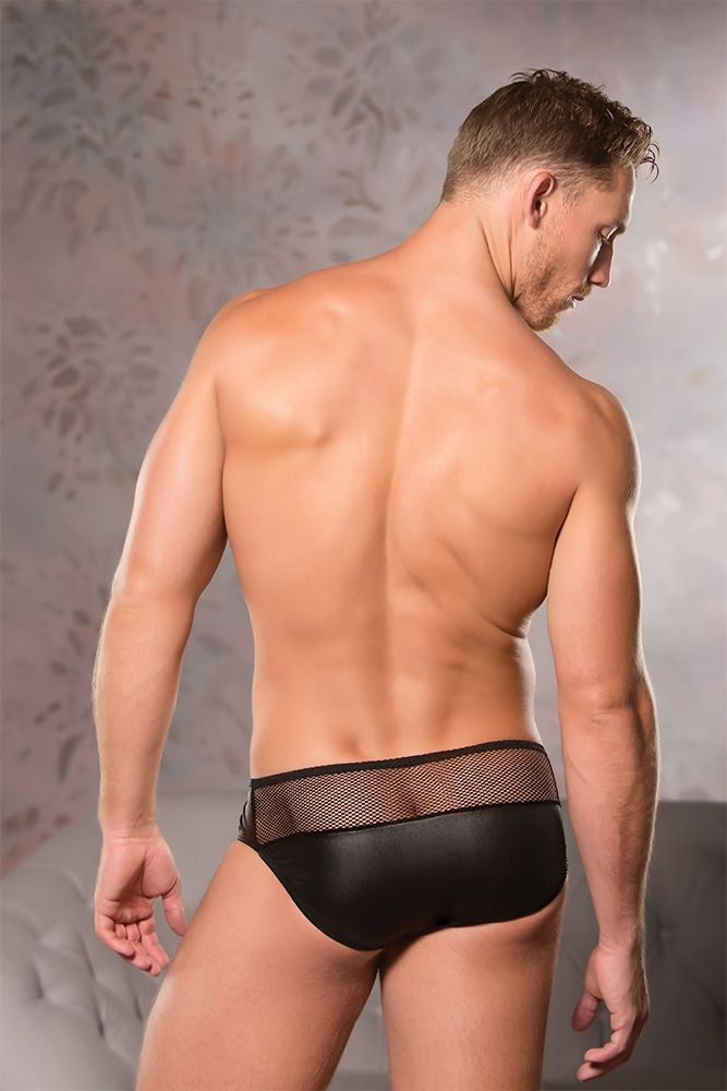 Devilish Black Fishnet Briefs in L/XL