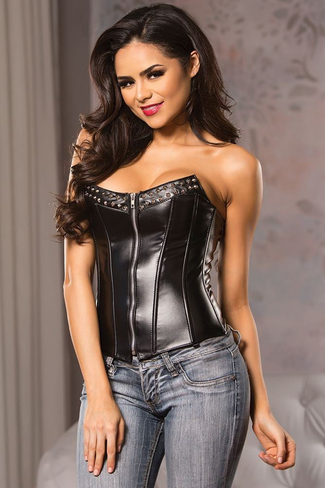 Black Faux Leather Studded Corset in L
