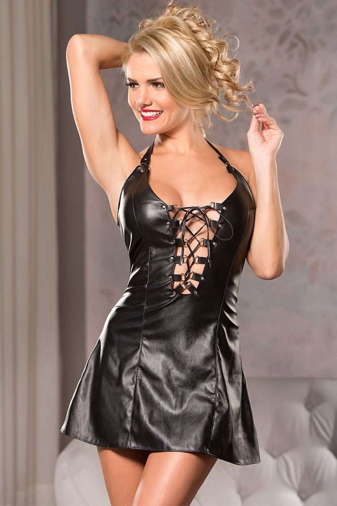 Black Wet Look Plunging Lace-Up Dress in S