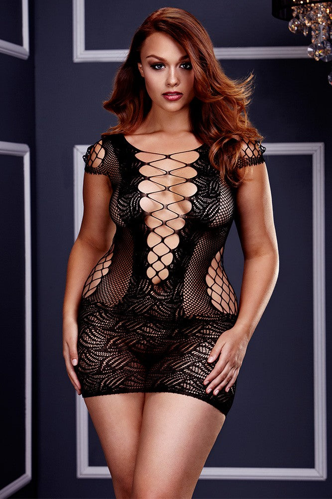 Corset Front Lace Mini Dress in OSXL