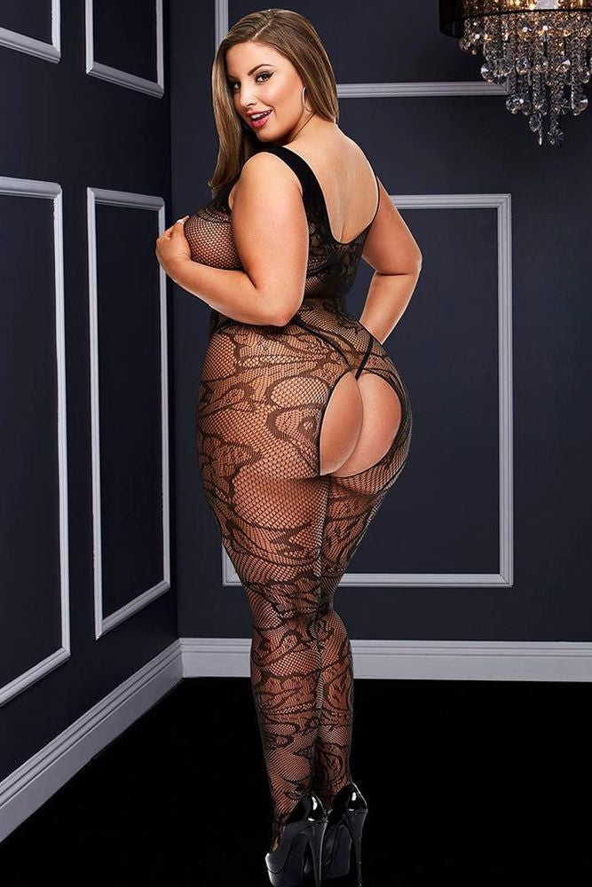 Filigree Lace Crotchless Bodystocking in OSXL
