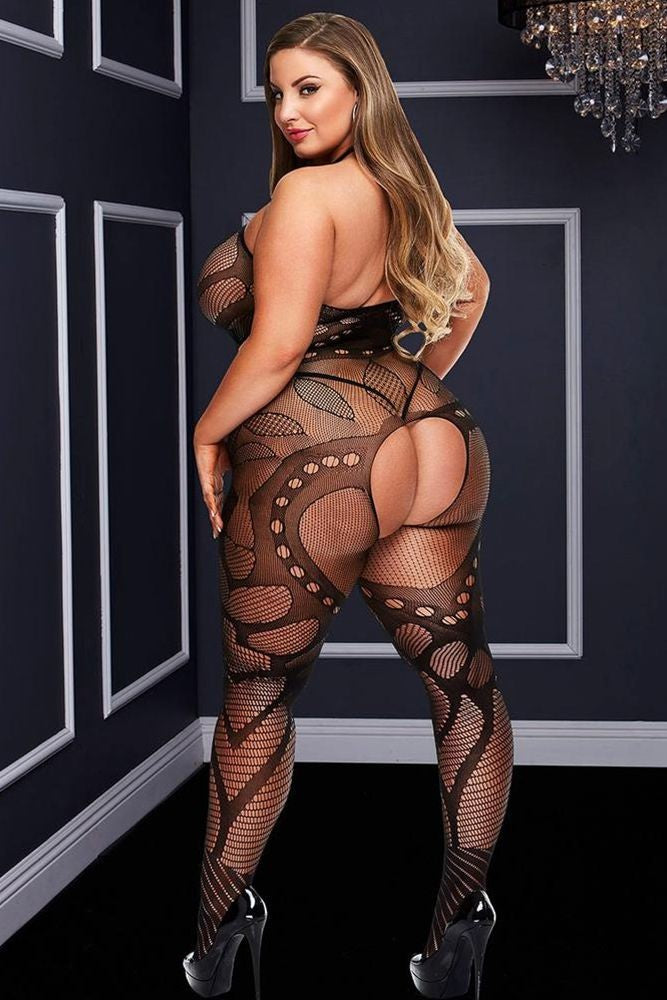 Crotchless Jacquard Bodystocking in OSXL