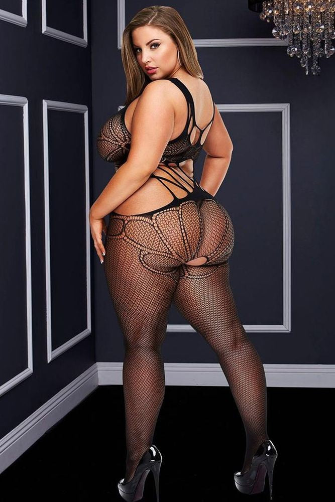 Criss-Cross Strappy Bodystocking in OSXL