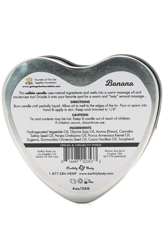 3-in-1 Edible Heart Candle 4oz/113g in Banana