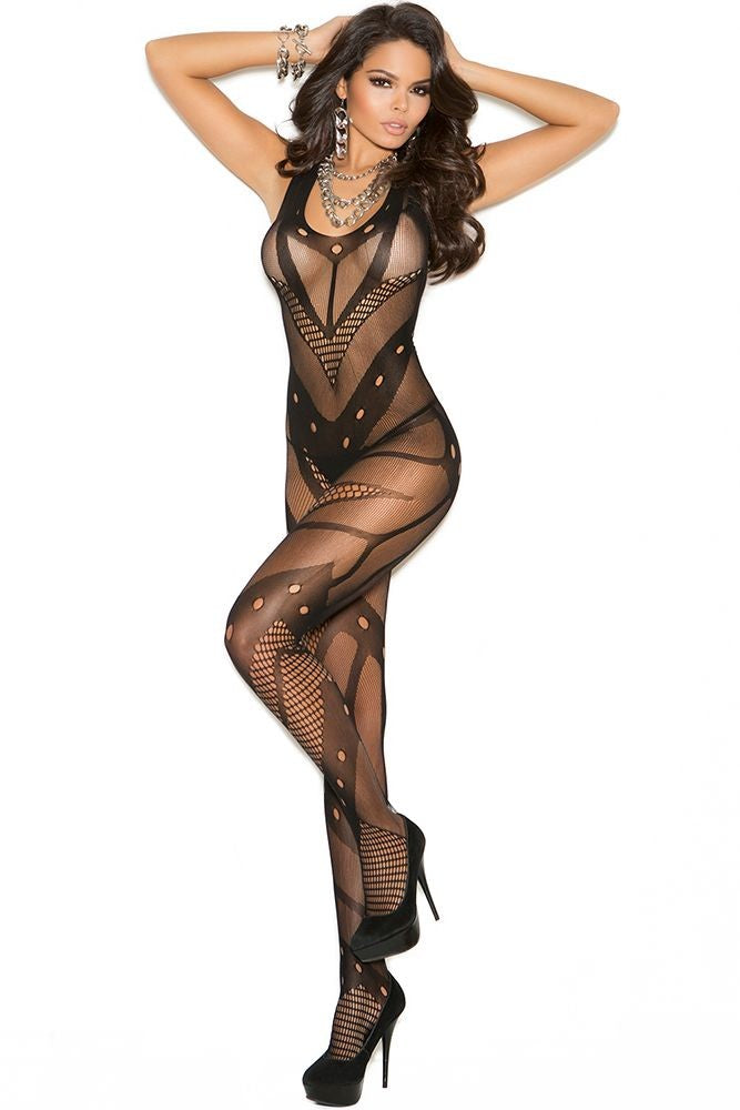 Black Geometric Bodystocking in OS