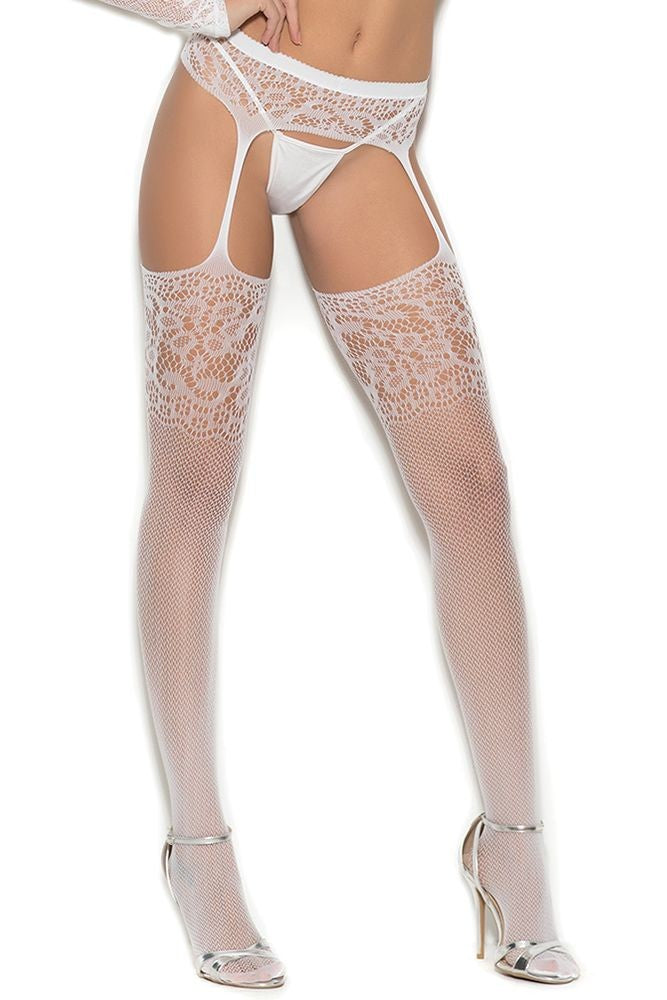 Classic White Crochet Suspenderhose in OS