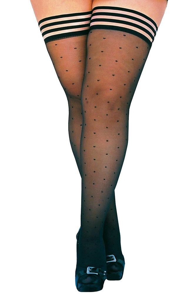 Ally Flashback Sheer Polka Dot Thigh Highs in B