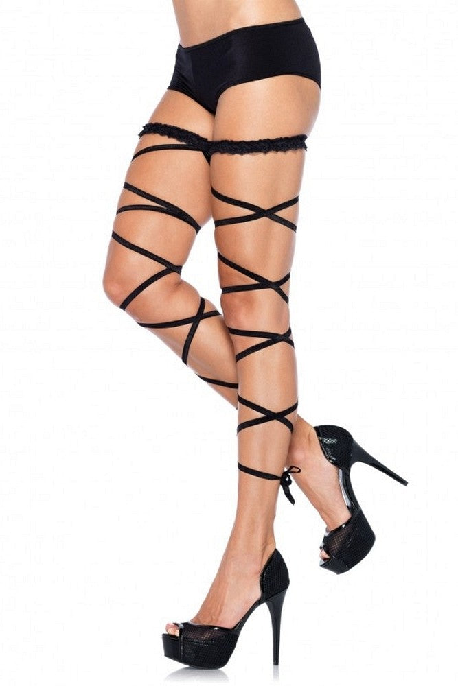 Black Garter Leg Wrap with Ruffled Top in OS