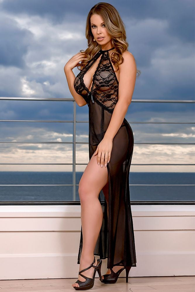 Black Widow Lace Gown and G-String in S/M