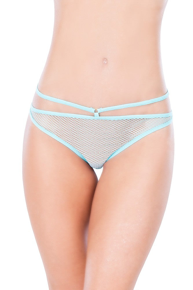 Aqua Open Back Crotchless Fishnet Panty in OS