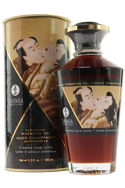 Aphrodisiac Warming Oil 3.5oz/100ml in Creamy Love Latte