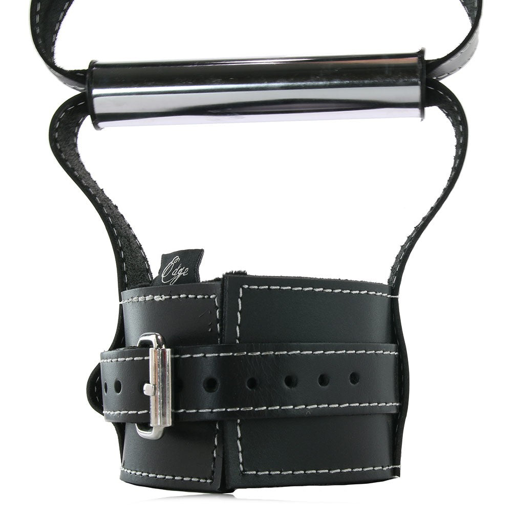 Edge Leather Hand Grip Wrist Cuffs in Black