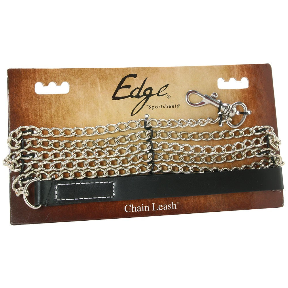 Edge Leather and Chain Leash in Black