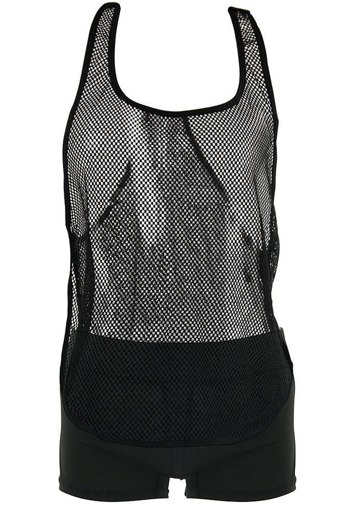 Black Athletic Mesh Tank in OS