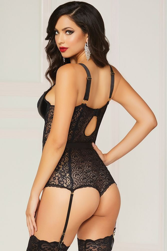 Black Geo Lace Teddy in XL