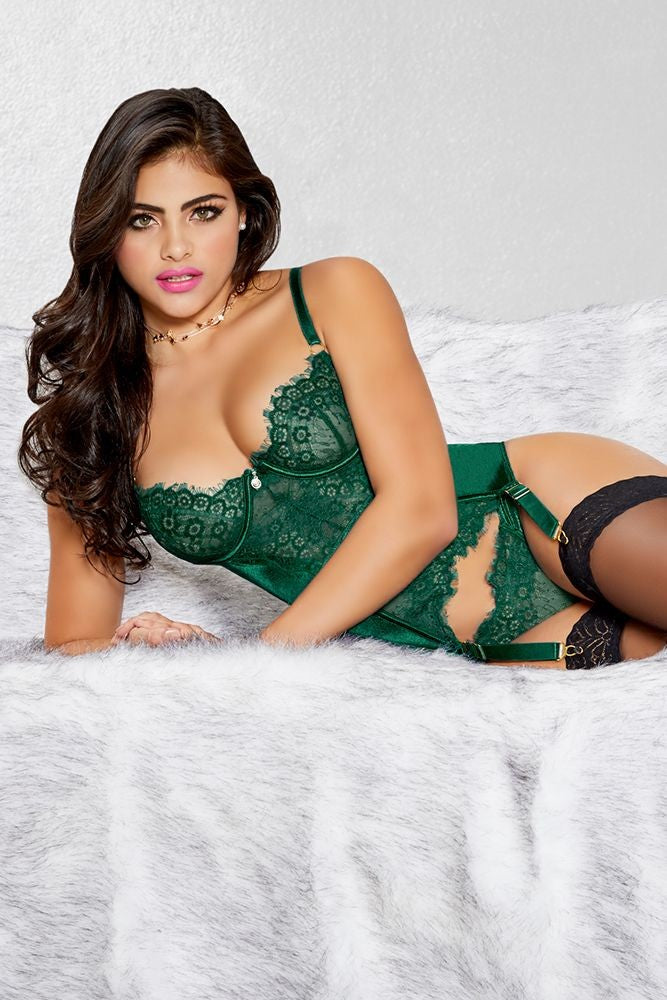 Emerald Satin and Lace Bustier Set in M