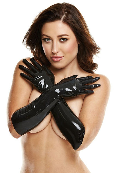 Black Latex Elbow Length Gloves in S/M