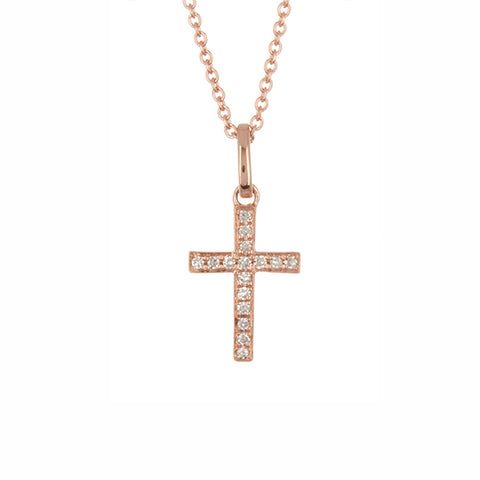 14K Rose Gold Diamond Cross Necklace - 0.06 ctw, , Heaven Culture Jewelry