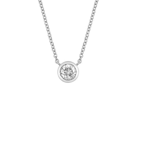14K White Gold Bezel Set Forever One Moissanite Solitaire Pendant Necklace - 0.25 ctw, Heaven Culture Forever One Moissanite Necklace, Heaven Culture Jewelry