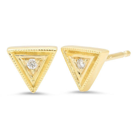 14K Gold Diamond Birthstone Trinity Stud Earrings, Heaven Culture Earrings, Heaven Culture Jewelry