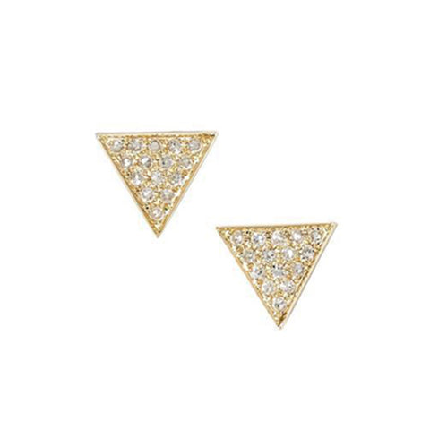 14K Gold Diamond Trinity Stud Earrings, , Eversmart Beauty