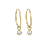 14K Gold Love Single Diamond Hoop Earrings, , Heaven Culture Jewelry