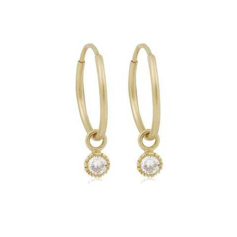 14K Gold Love Single Diamond Hoop Earrings, , Eversmart Beauty