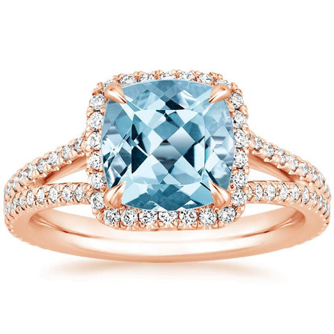 14K Rose Gold Crystal Sea Ring, Wedding Ring, Eversmart Beauty