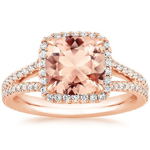 14K Rose Gold Morganite Ring with V-Diamond Ring, Morganite Ring, Heaven Culture Jewelry
