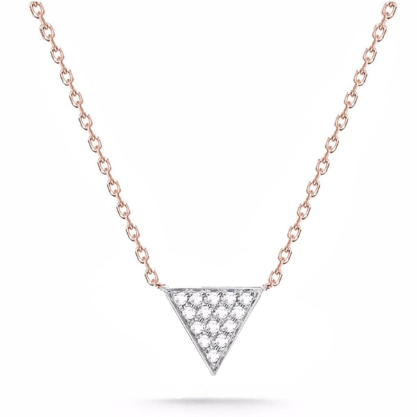 14k Rose Gold and White Gold Trinity Diamond Necklace, 14k Gold Trinity Diamond Necklace, Heaven Culture Jewelry