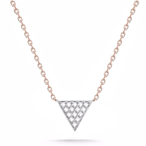 14k Rose Gold and White Gold Trinity Diamond Necklace, 14k Gold Trinity Diamond Necklace, Eversmart Beauty