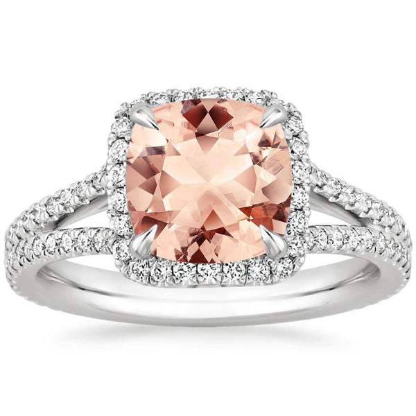 2.30 Total Carat Cushion Halo Morganite and Diamond Heaven Culture Ring, Morganite Diamond Halo Ring, Eversmart Beauty