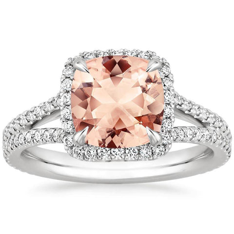 2.30 Total Carat Cushion Halo Morganite and Diamond Heaven Culture Ring, Morganite Diamond Halo Ring, Heaven Culture Jewelry