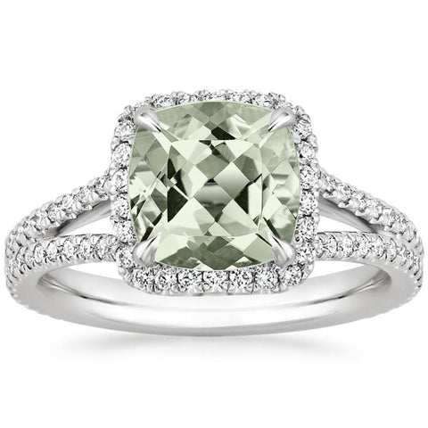 2.30 Total Carat Cushion Halo Prasiolite and Diamond Heaven Culture Ring, Halo Engagement Ring, Heaven Culture Jewelry
