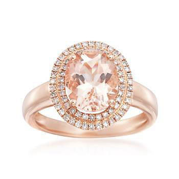 2.35 Total Carat Oval Morganite and Diamond Ring, Morganite Ring, Eversmart Beauty