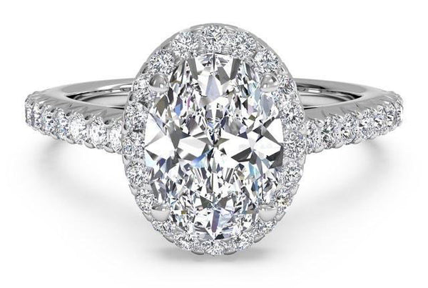 2.40 Total Carat Oval Moissanite and Diamond Heaven Culture Ring, Diamond Halo Engagement Ring, Eversmart Beauty