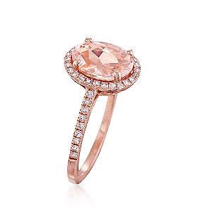 2.40 Total Carat Oval Morganite and Diamond Ring, Morganite Ring, Eversmart Beauty