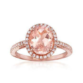 2.40 Total Carat Oval Morganite and Diamond Ring, Engagement Ring, Eversmart Beauty