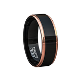 Mens Wedding Band Two Tone Black Polished Tungsten Ring 8mm Rose Gold Step Edge Comfort Fit, Tungsten Ring, Heaven Culture Jewelry
