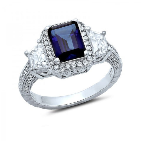 Swarovski® Diamond and Sapphire Ring, Swarovski Rings, Heaven Culture Jewelry