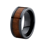 9MM Black Ceramic Flat Top Wedding Band Ring with Real Koa Wood Inlay Comfort Fit, Tungsten Ring, Heaven Culture Jewelry