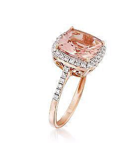 3.20 Carat Morganite and .38 ct. t.w. Diamond Ring in 14kt Rose Gold, Morganite Rose Gold Ring, Eversmart Beauty